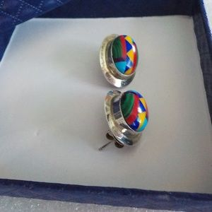 Sterling Turquoise Multi-Color Inlay Post Earrings